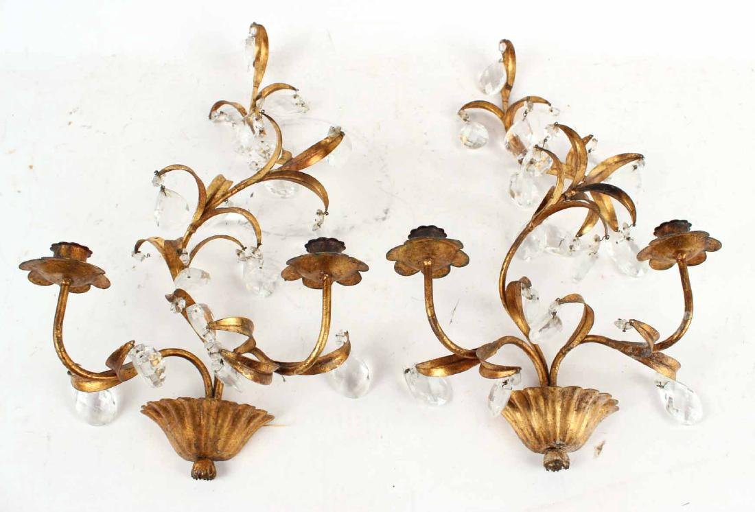 Pair of Gilt Metal & Crystal Prisms Wall Sconces