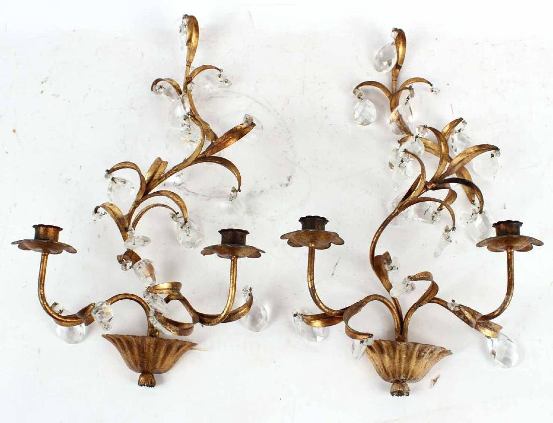 Pair of Gilt Metal & Crystal Prisms Wall Sconces - 2