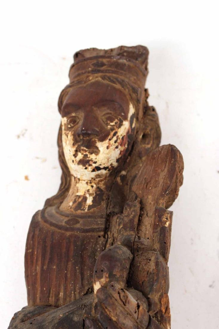 Santos Carved Wood Figure of Mary and Child - 2