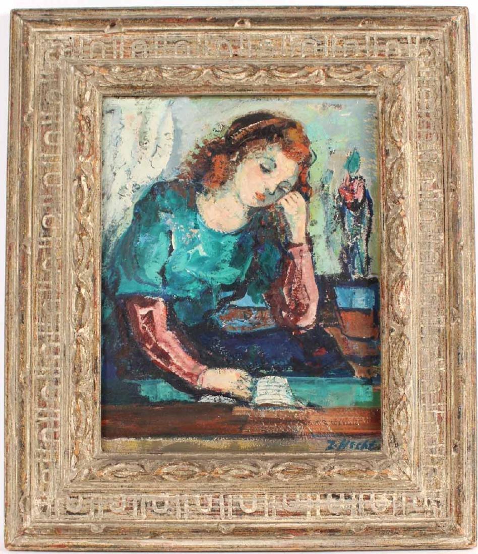 Oil on Board Portrait of a Girl, Zoltan Hecht