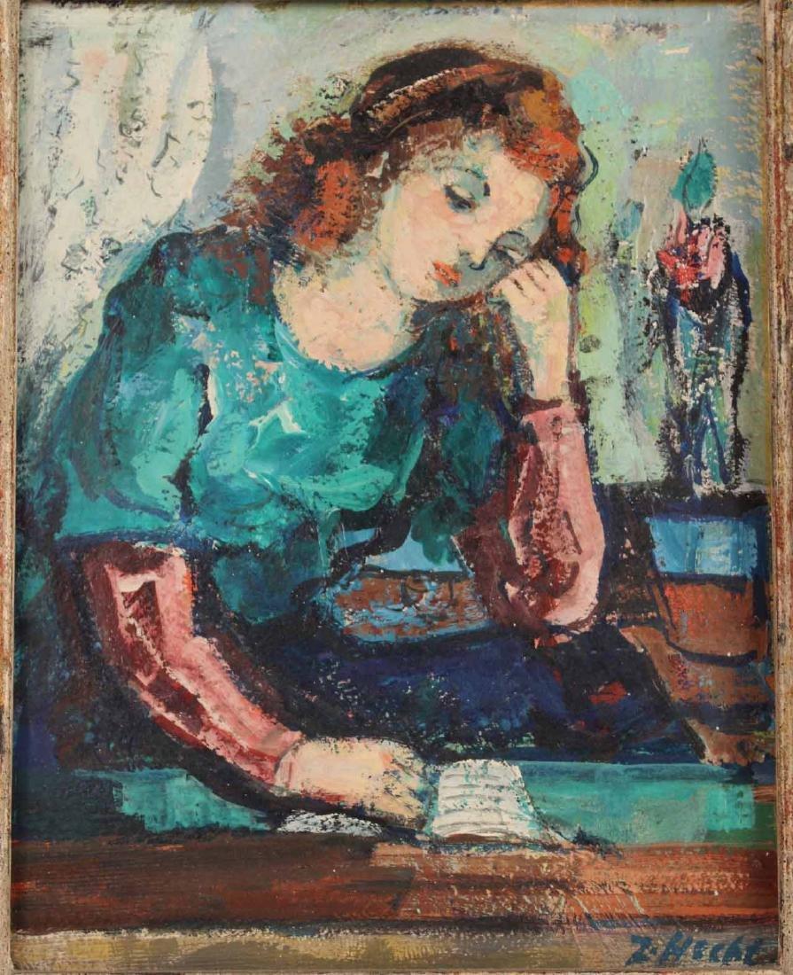Oil on Board Portrait of a Girl, Zoltan Hecht - 2