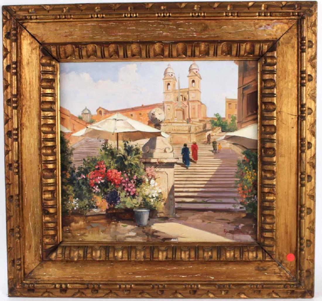 Oil on Canvas, Spanish Steps, Giuseppe Pesa