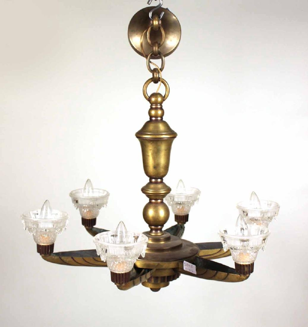 Art Deco Style Brass & Glass Six-Light Chandelier