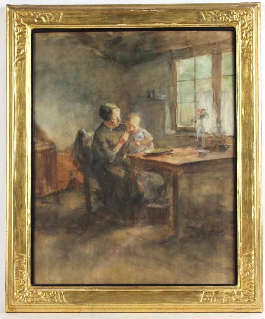 Watercolor, Interior Scene, Jacobus S.H. Kever