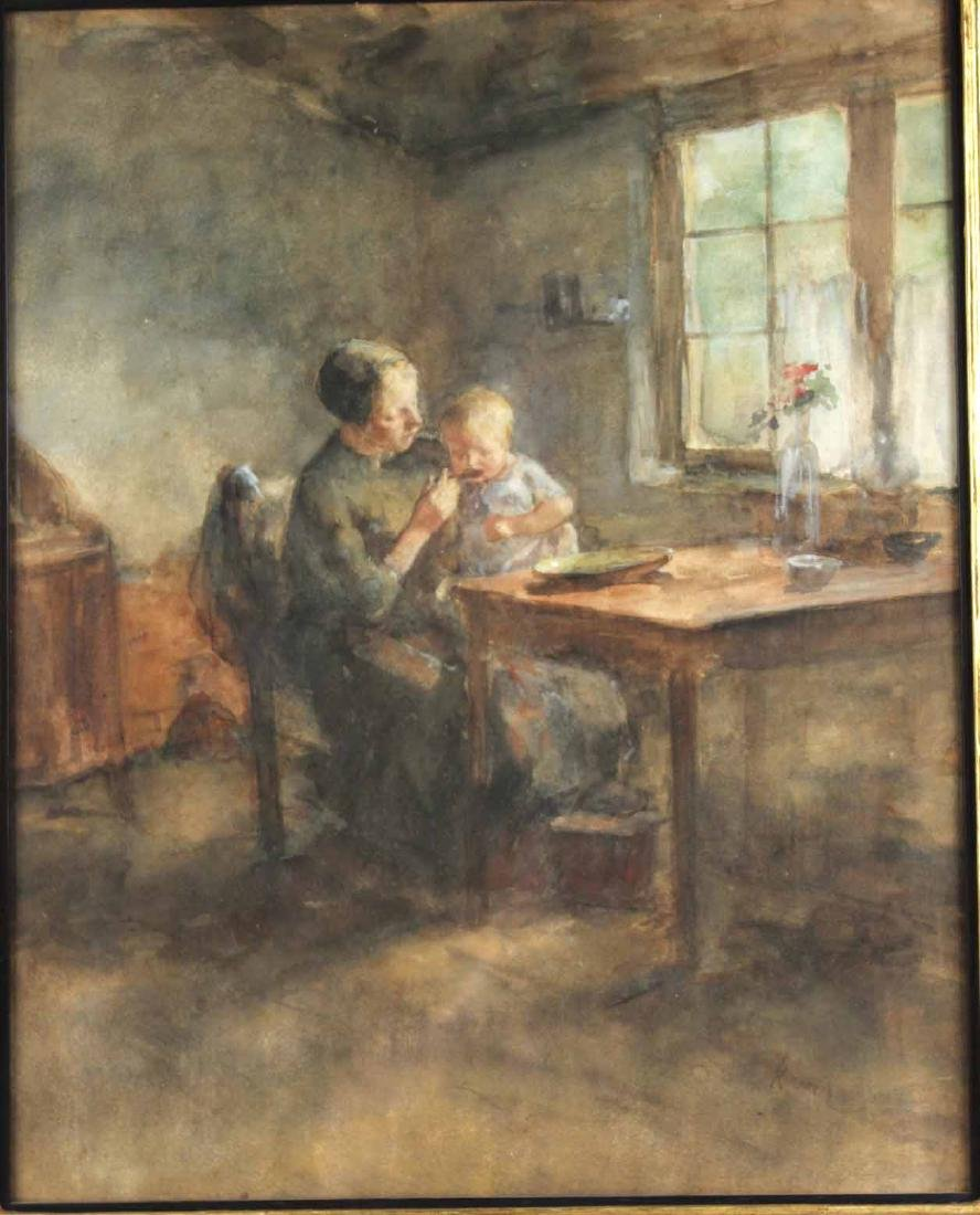 Watercolor, Interior Scene, Jacobus S.H. Kever - 2