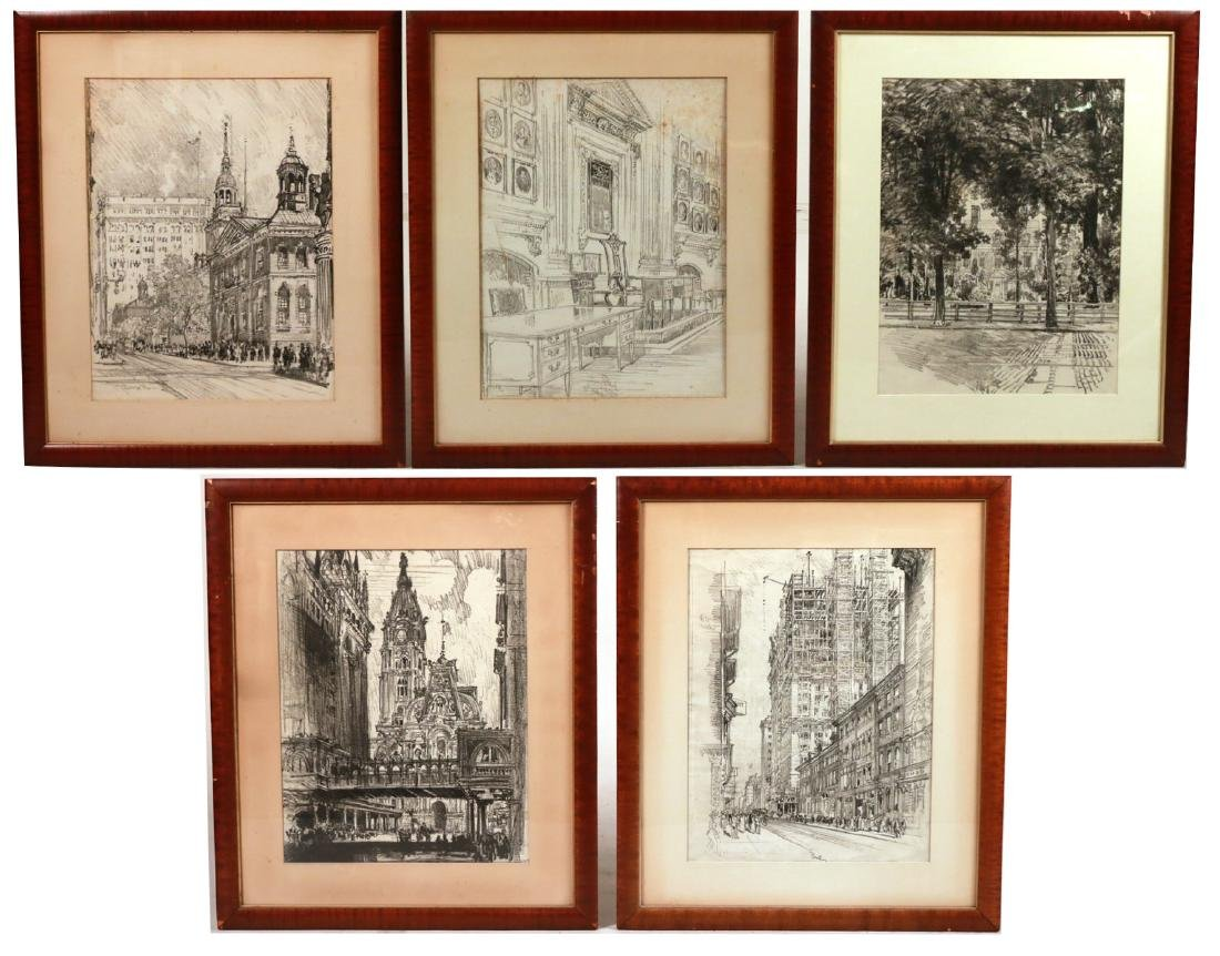 Five Framed Assorted Prints, Joseph Pennell