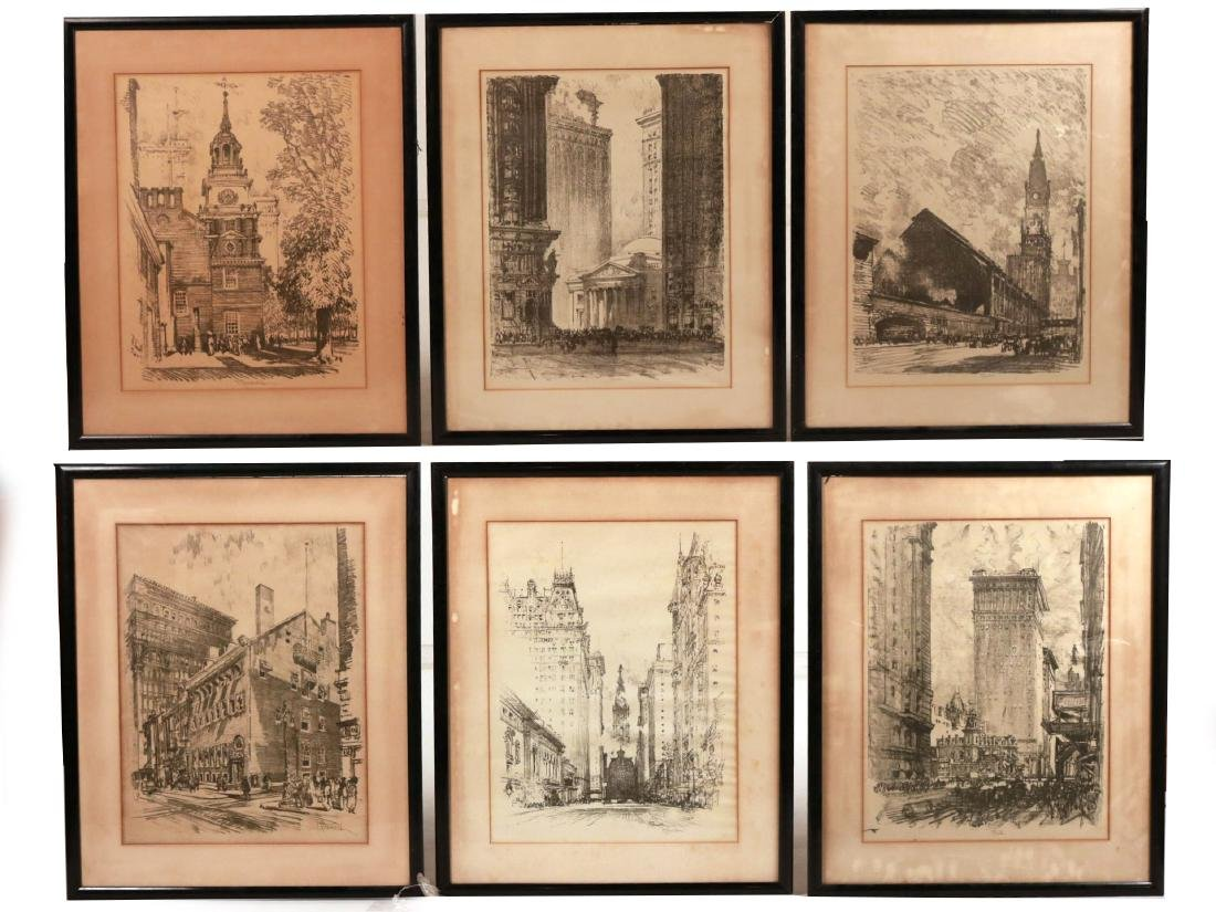 Six Framed Assorted Prints, Joseph Pennell
