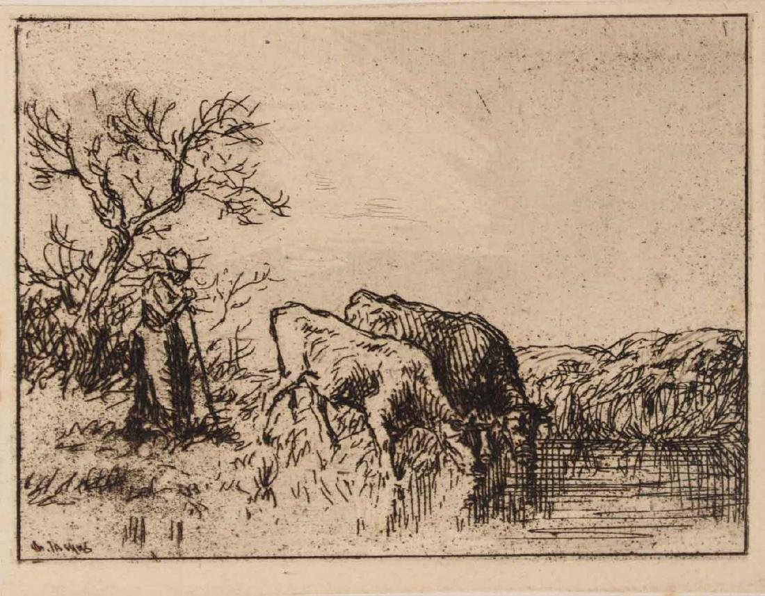 "Two Etchings ""Farm Scenes"" Maurice Taquoy - 2"
