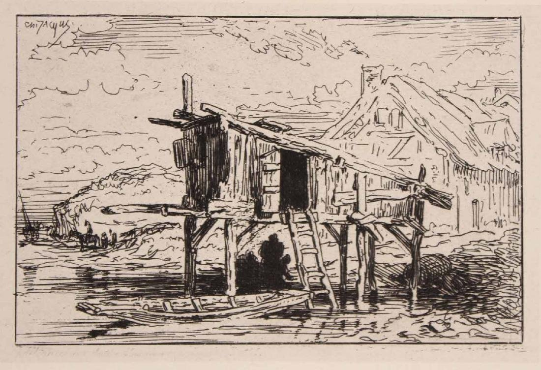 "Two Etchings ""Farm Scenes"" Maurice Taquoy - 3"