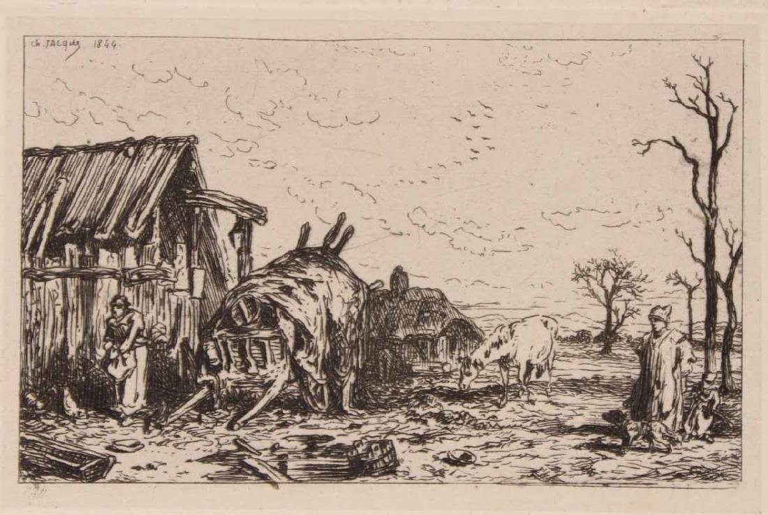 "Two Etchings ""Farm Scenes"" Maurice Taquoy - 6"