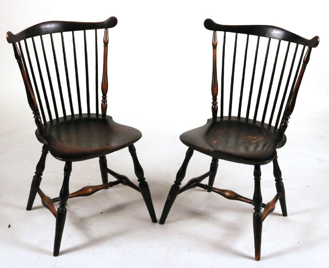 Pair of Black-Painted Fan-Back Windsor Chairs