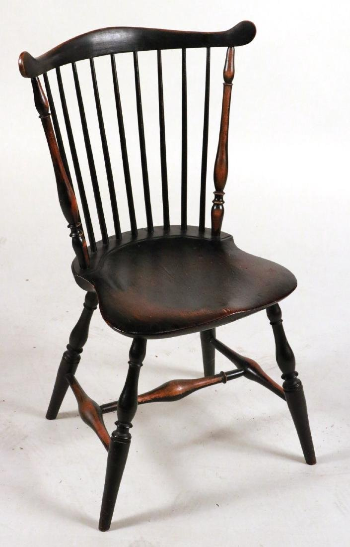 Pair of Black-Painted Fan-Back Windsor Chairs - 4