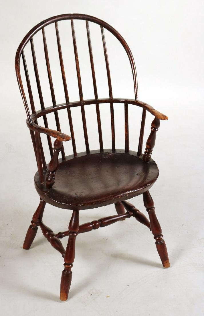 Brown-Painted Sack-Back Windsor Armchair