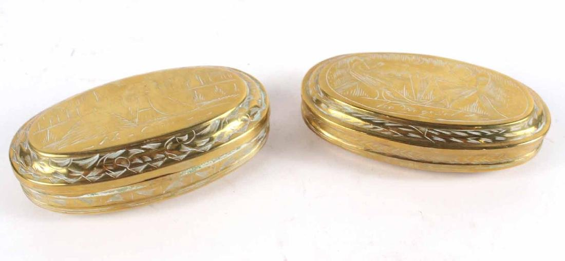 Two Engraved Brass Tobacco Boxes