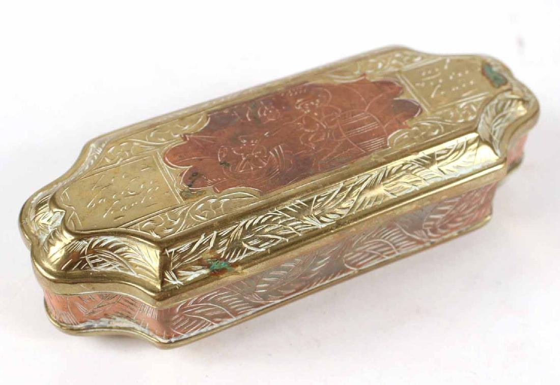 Two Engraved Brass Tobacco Boxes - 2