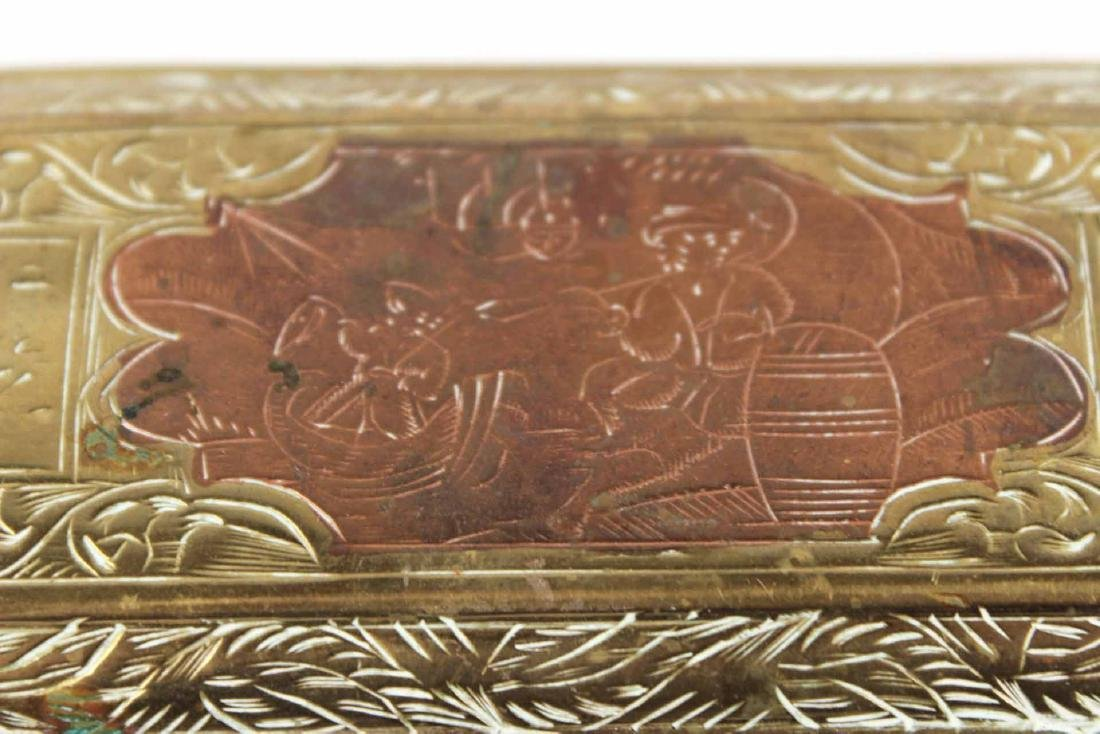 Two Engraved Brass Tobacco Boxes - 3