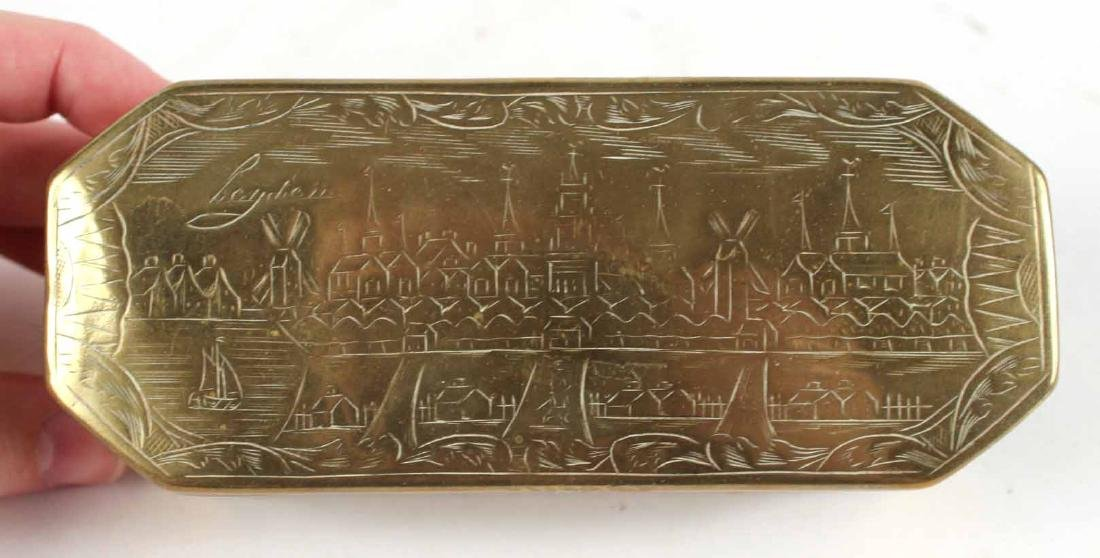 Two Engraved Brass Tobacco Boxes - 6