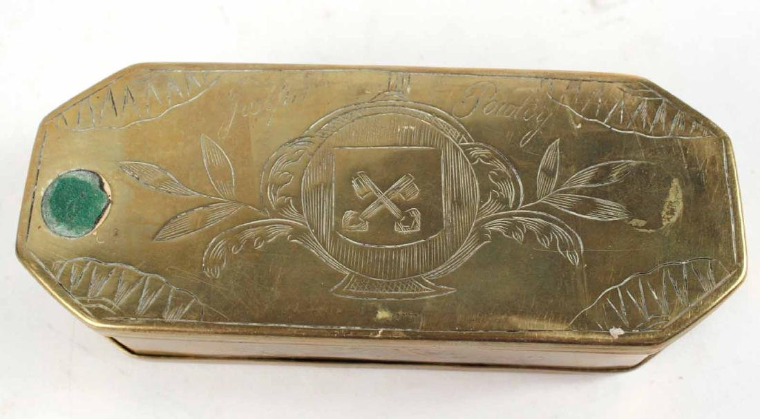 Two Engraved Brass Tobacco Boxes - 7