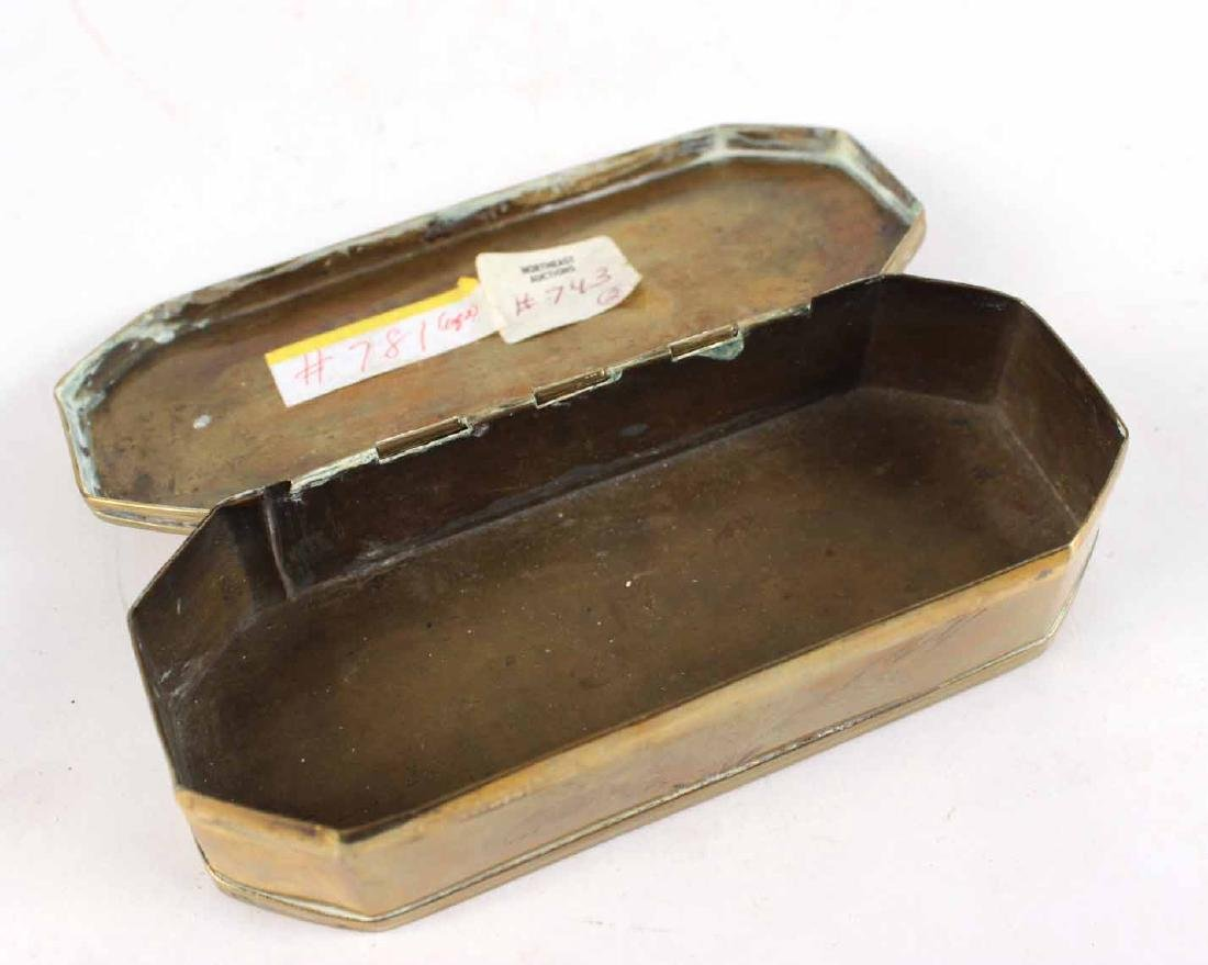 Two Engraved Brass Tobacco Boxes - 8