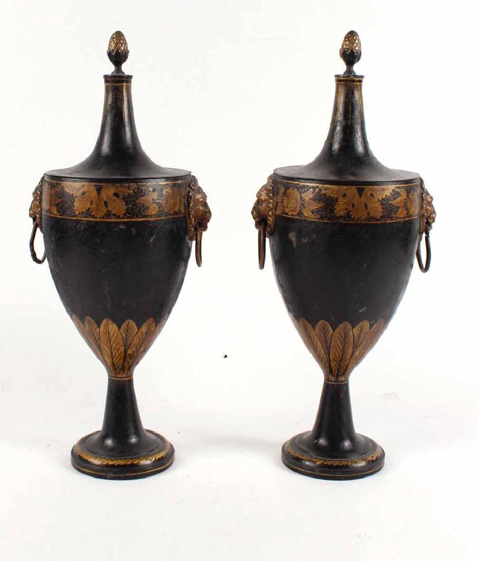 Pair of Regency Black-Painted & Parcel-Gilt Urns
