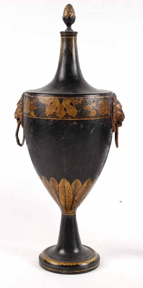 Pair of Regency Black-Painted & Parcel-Gilt Urns - 2
