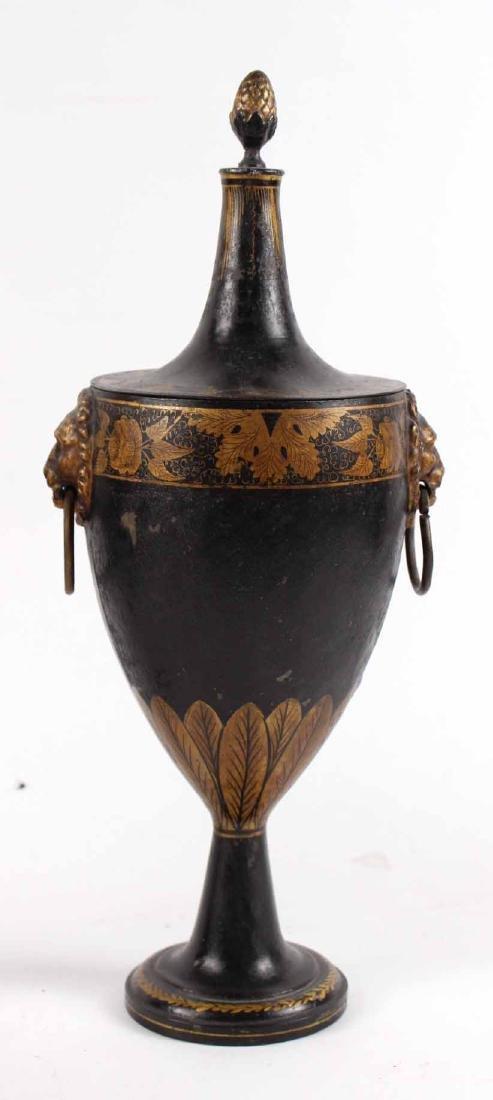 Pair of Regency Black-Painted & Parcel-Gilt Urns - 3
