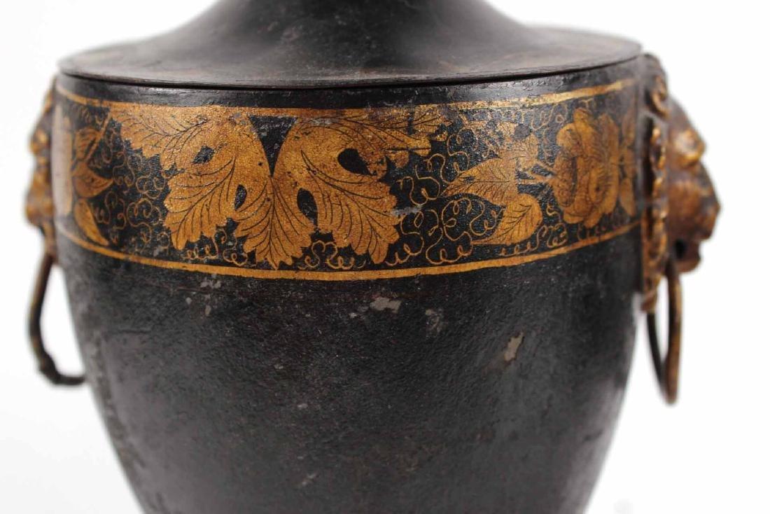 Pair of Regency Black-Painted & Parcel-Gilt Urns - 4