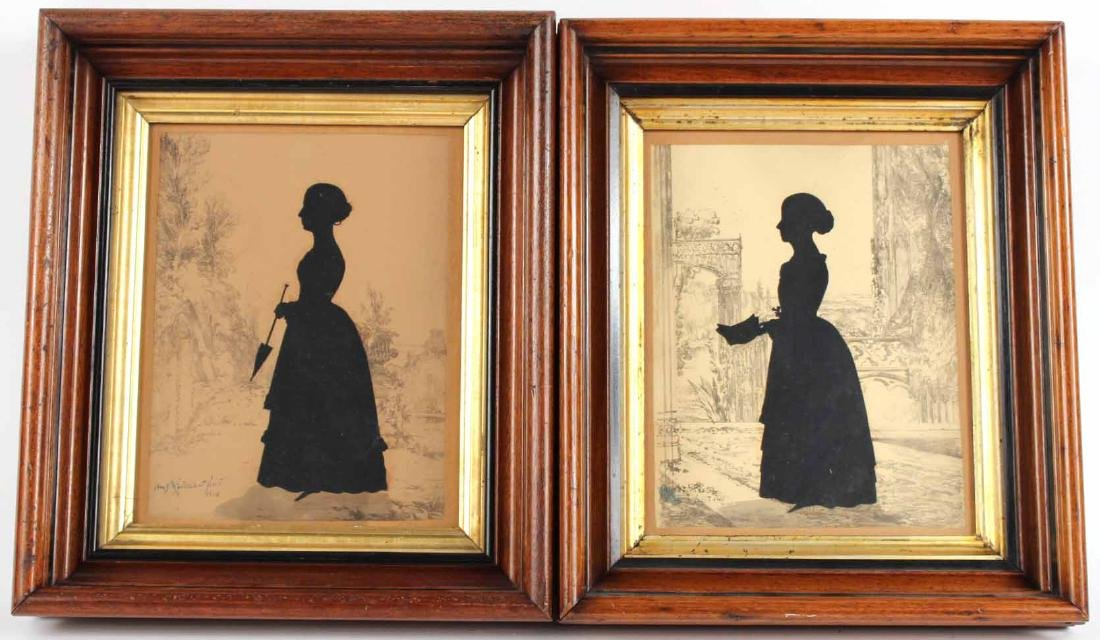 Two Silhouettes Depicting Young Ladies