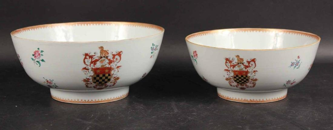 Two Chinese Export Armorial Punch Bowls