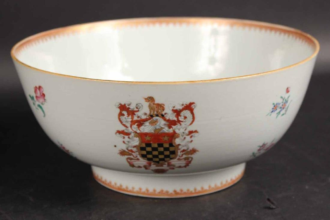 Two Chinese Export Armorial Punch Bowls - 2