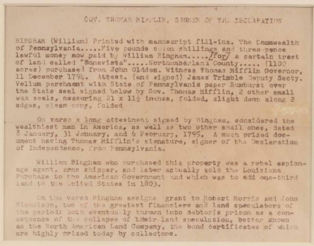 Partially Printed Document, Thomas Mifflin - 2