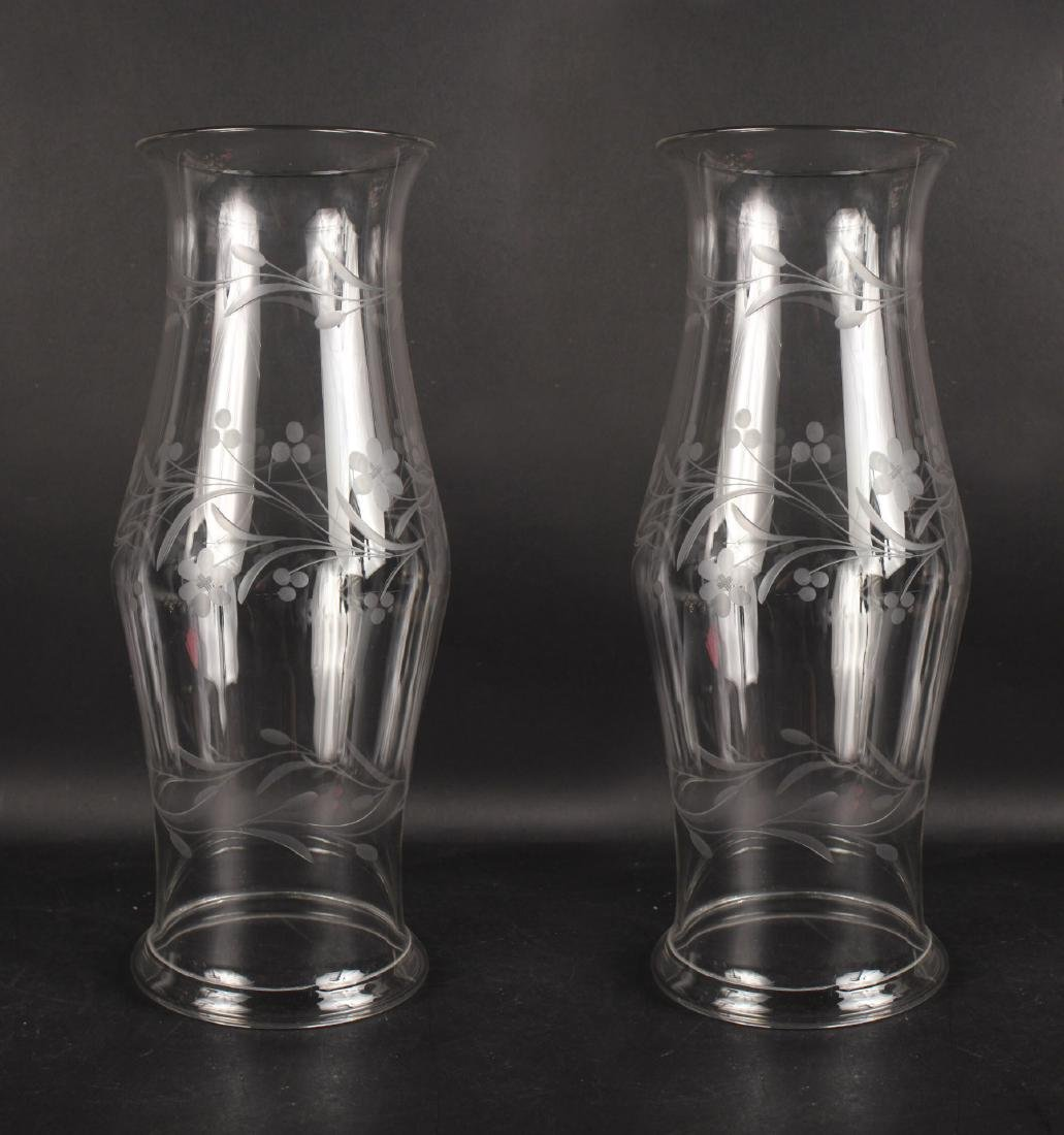 Pair of Etched Glass Hurricane Shades