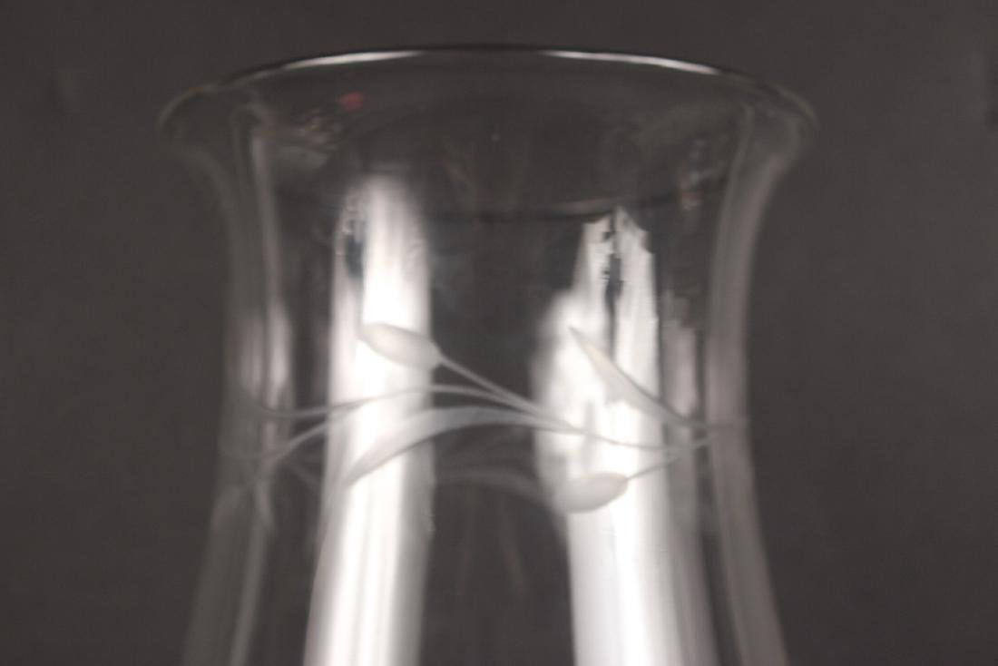 Pair of Etched Glass Hurricane Shades - 3