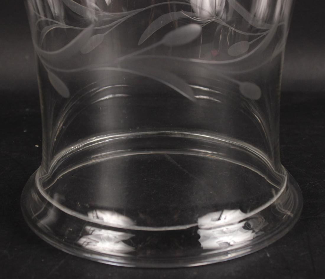 Pair of Etched Glass Hurricane Shades - 5