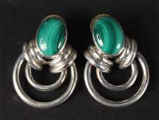 Pair Mexican Sterling Silver  Malachite Earrings