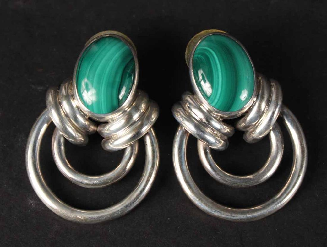 Pair Mexican Sterling Silver & Malachite Earrings