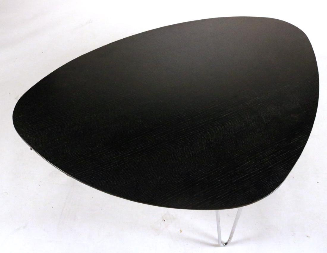 Modern Black-Stained and Chrome Low Table - 2