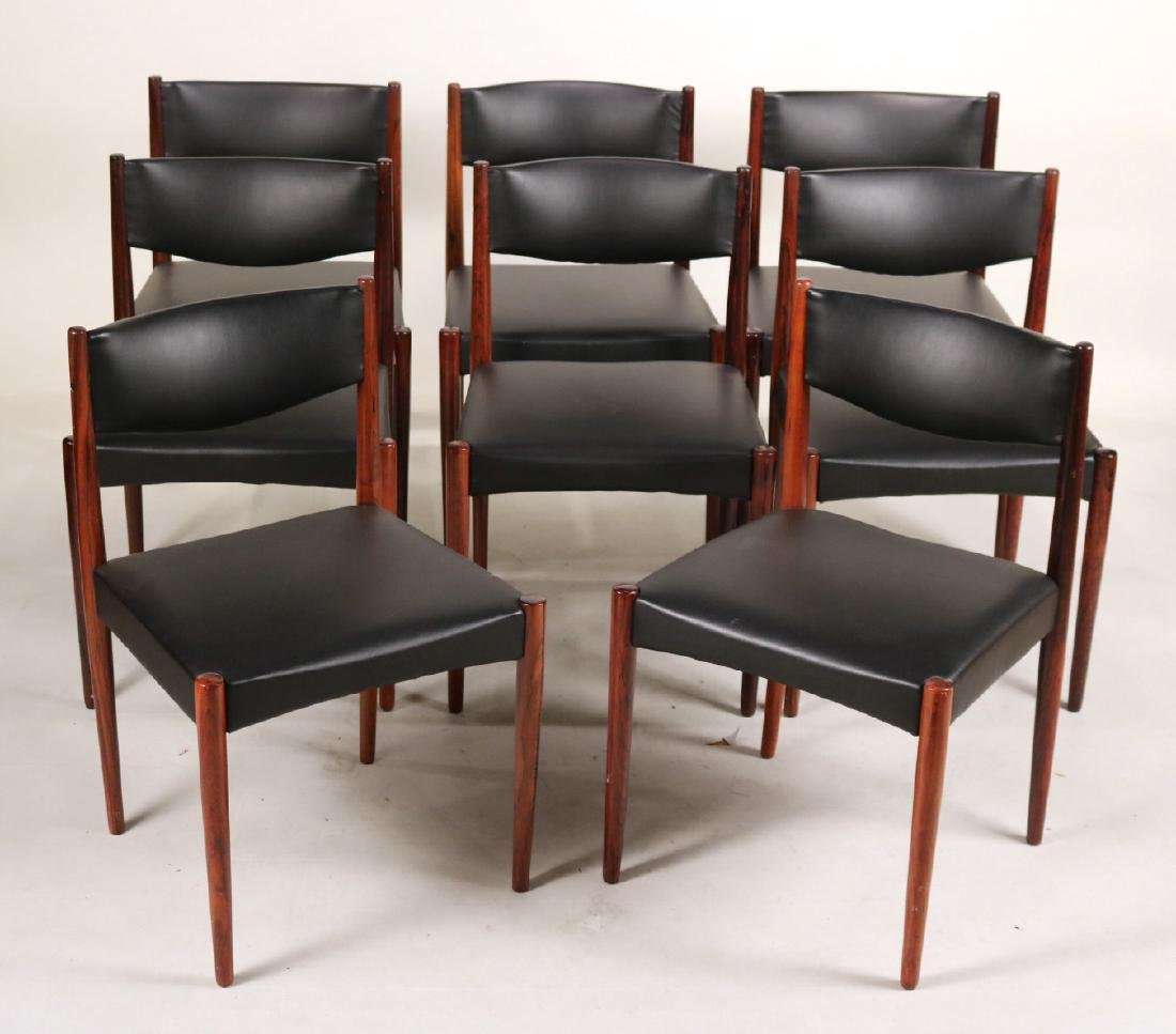 Eight Black-Leather and Mahogany Dining Chairs