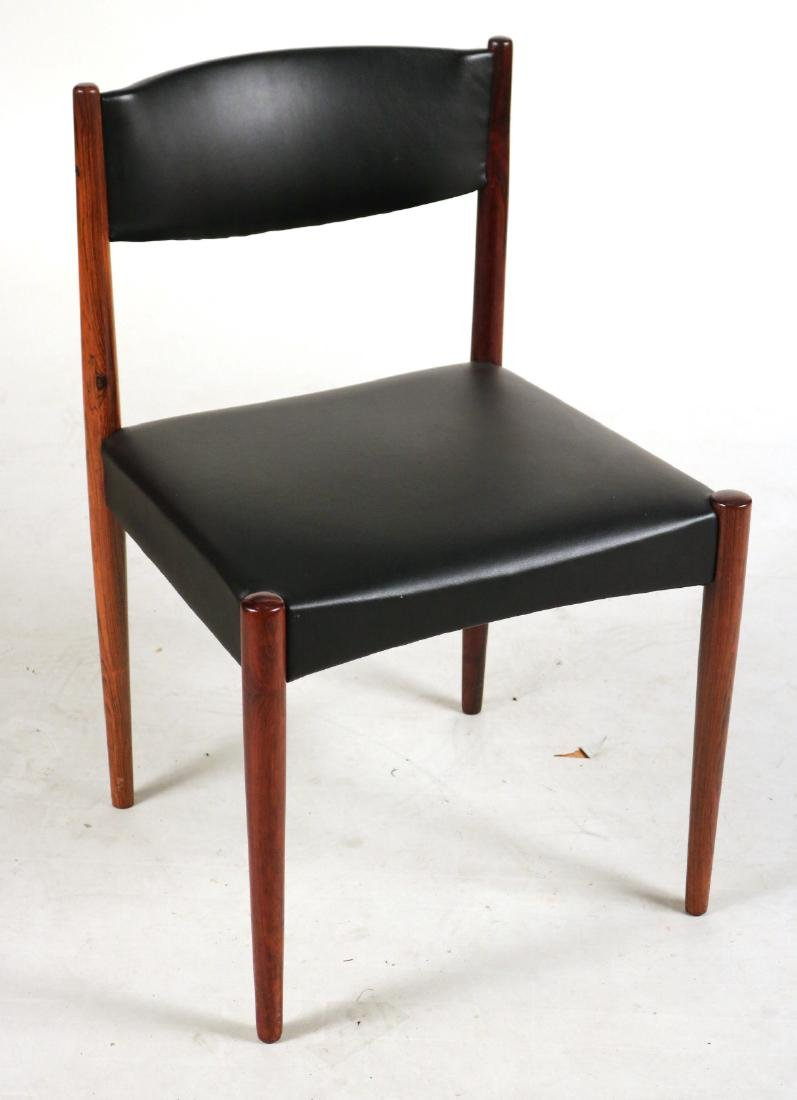Eight Black-Leather and Mahogany Dining Chairs - 2