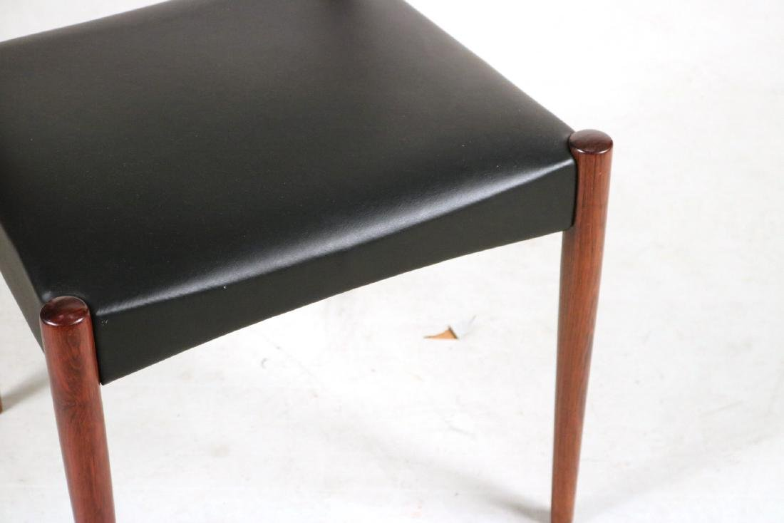 Eight Black-Leather and Mahogany Dining Chairs - 5