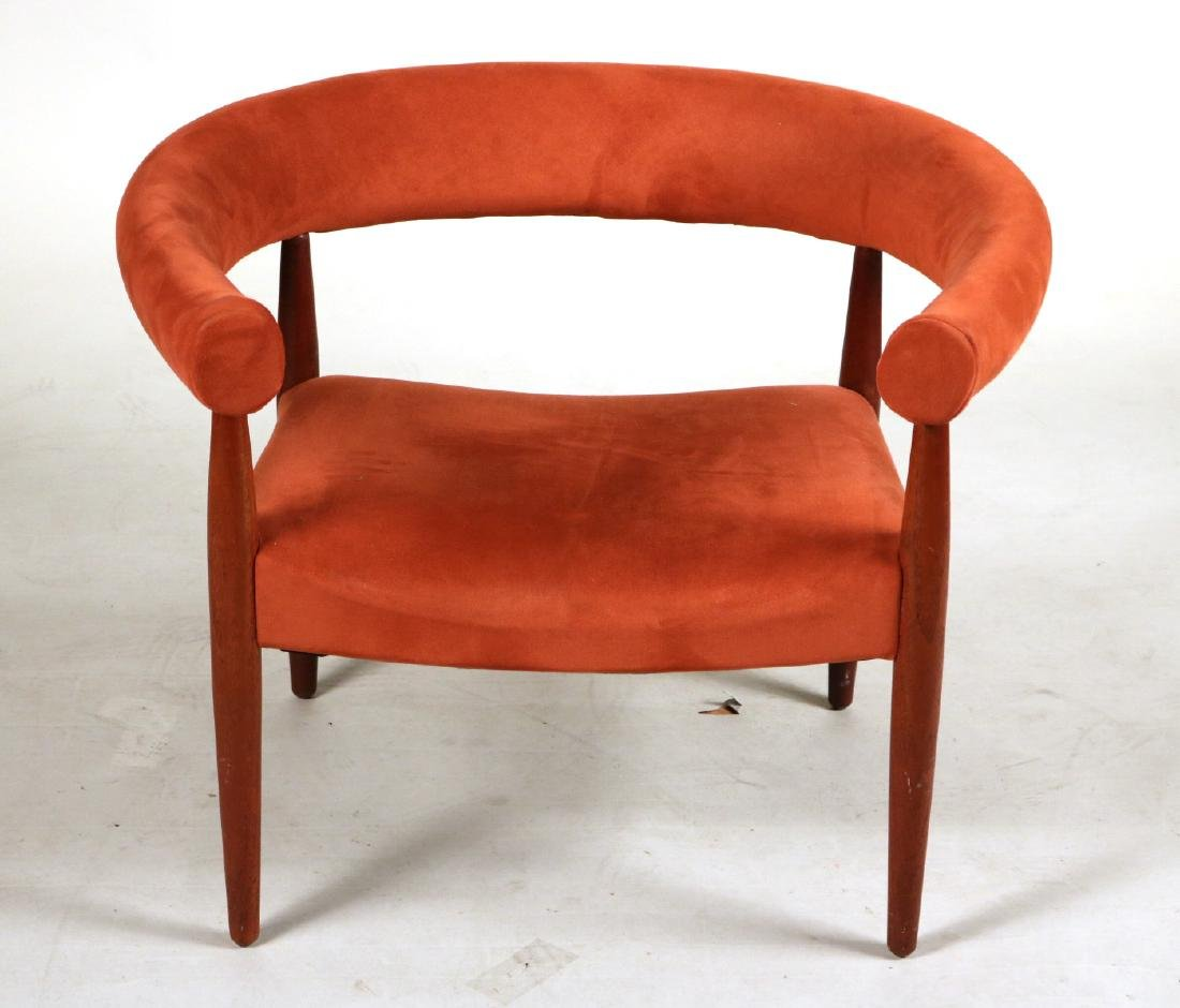 Danish Modern Walnut Horseshoe Back Club Chair
