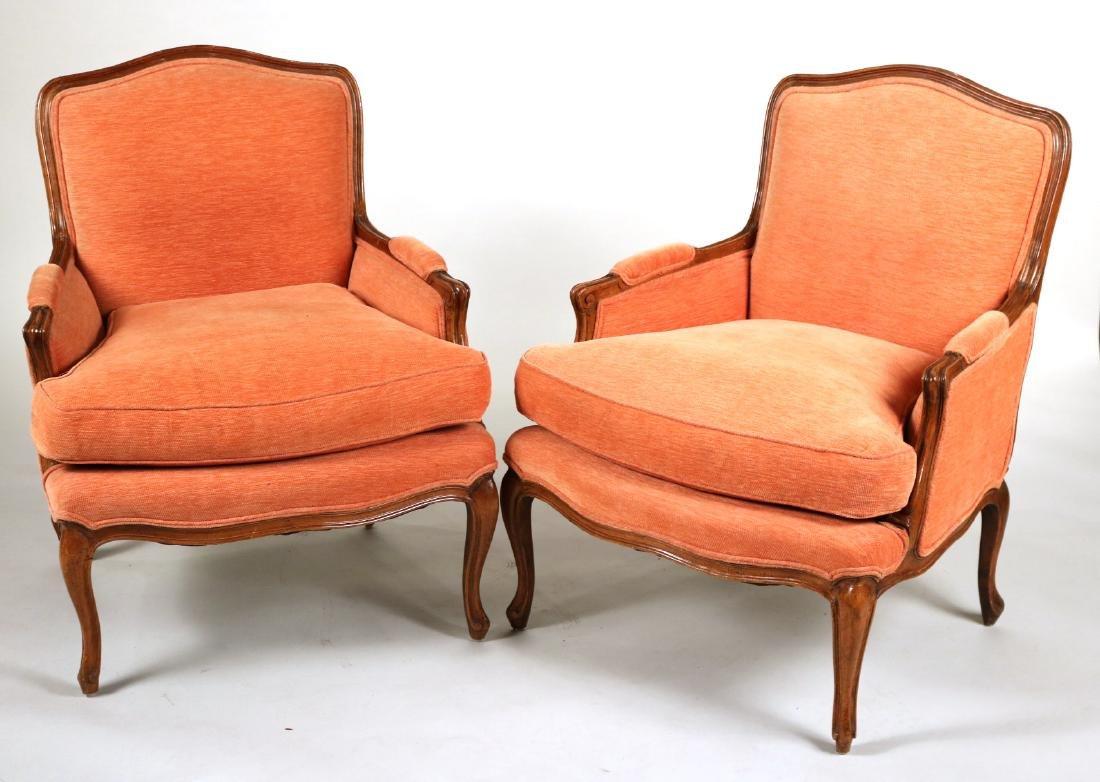 Pair of Louis XV Style Mahogany Bergeres