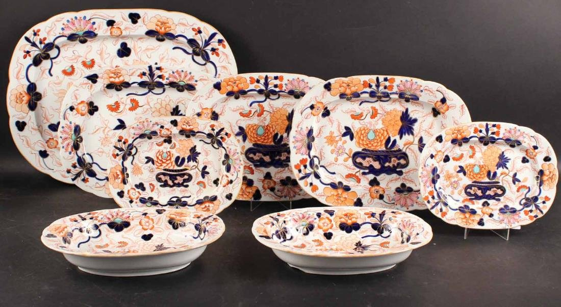 Six Imari Porcelain Platters and Two Oval Bowls