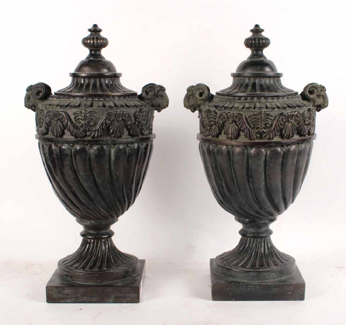 Pair of Neoclassical Style Composition Urns