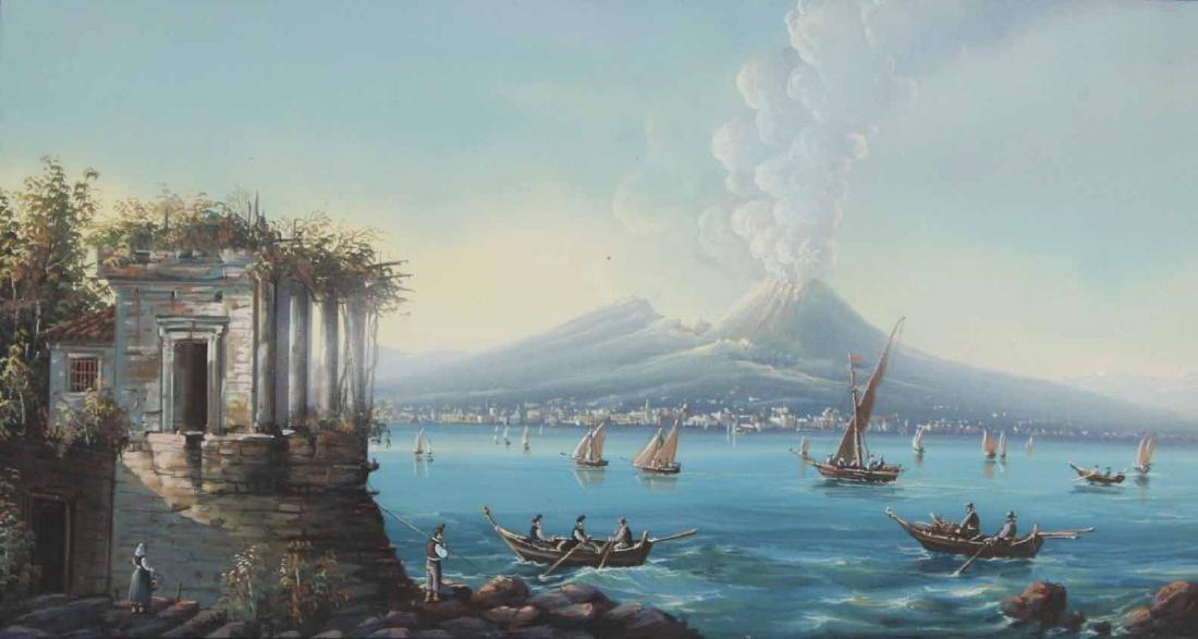 Gouache, View of Mt. Vesuvius - 2