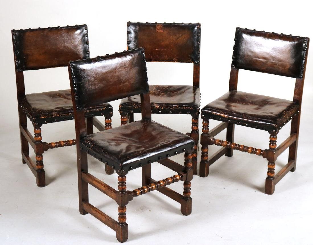 Four Jacobean Style Turned Maple Backstools