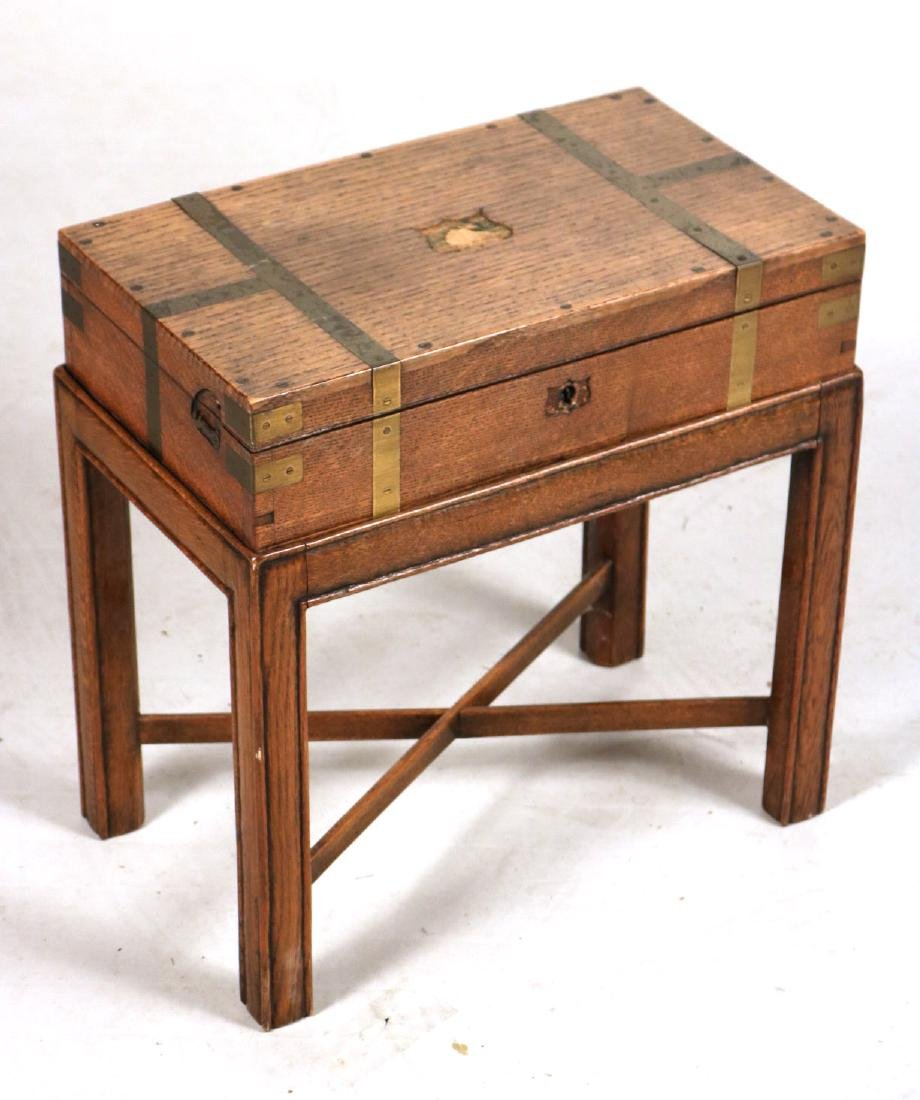 Regency Brass-Bound Oak Lap Desk-on-Stand