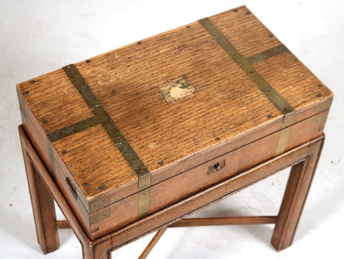 Regency Brass-Bound Oak Lap Desk-on-Stand - 2