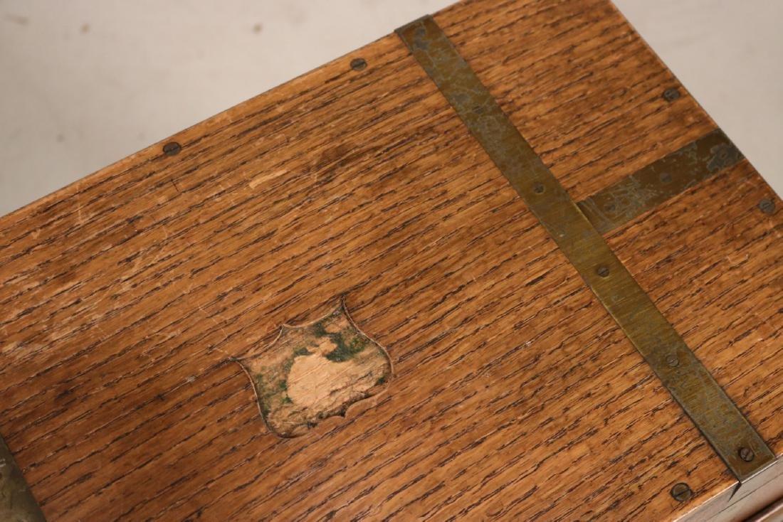 Regency Brass-Bound Oak Lap Desk-on-Stand - 3