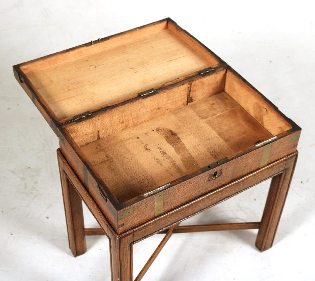 Regency Brass-Bound Oak Lap Desk-on-Stand - 4